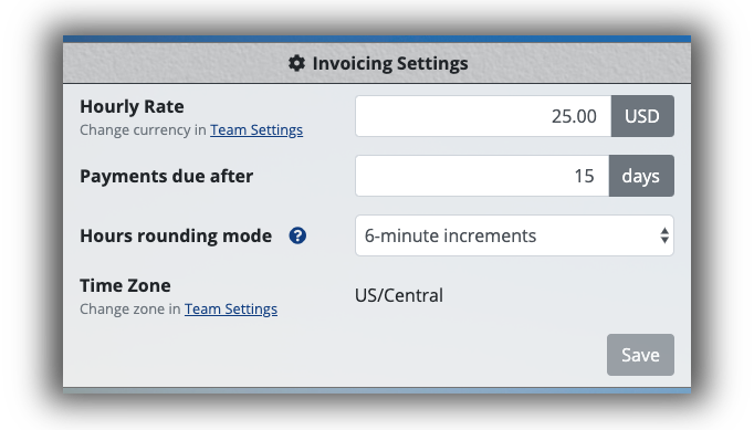 Client Invoicing Settings