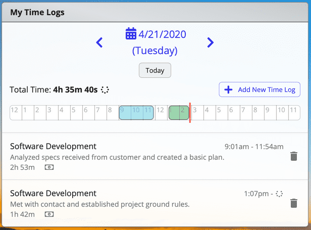 Daily time log app