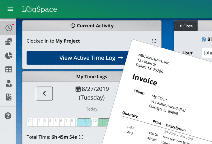 Active Time Log and Invoicing
